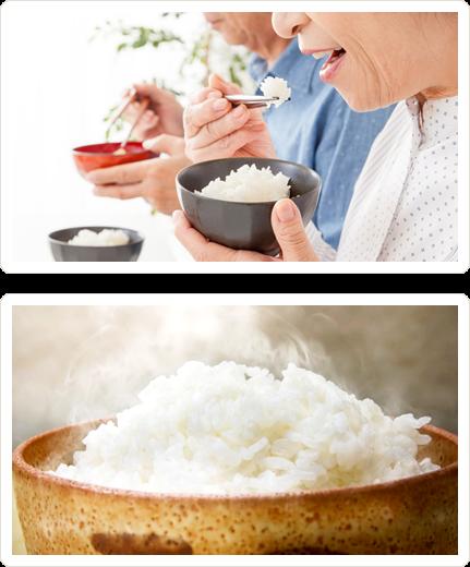白ご飯を食べる老夫婦